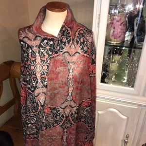 Tolani - Silk Wool Shawl Blue/Soft Pinks